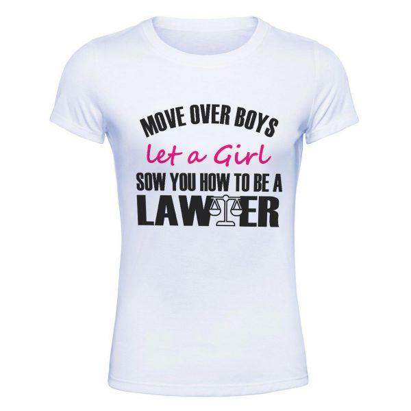 تیشرت سفید طرح دختر وکیل