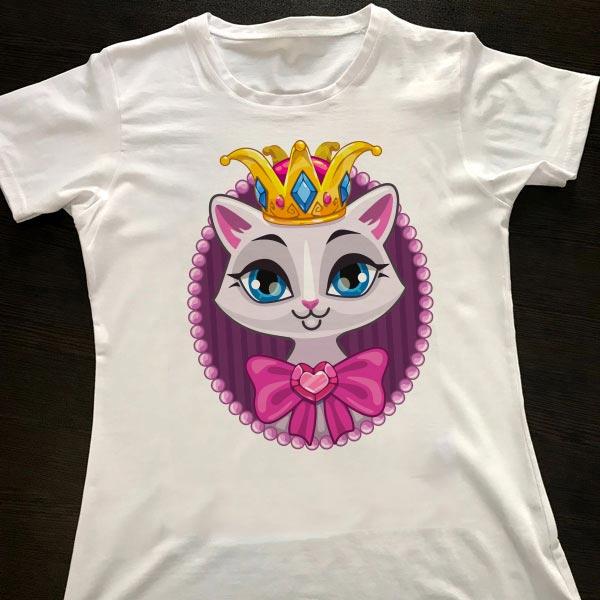تیشرت-سفید زنانه طرح گربه ملکه