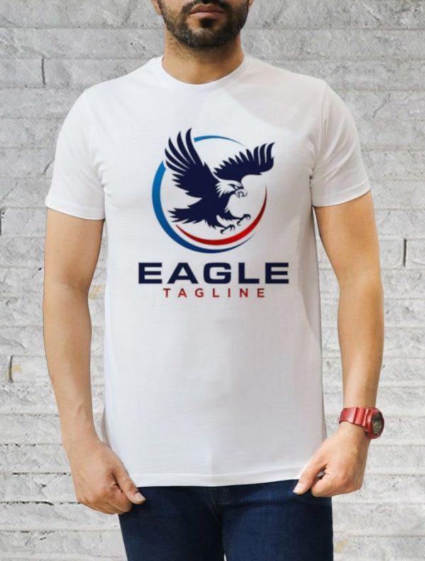 تیشرت سفید یقه گرد طرح عقاب