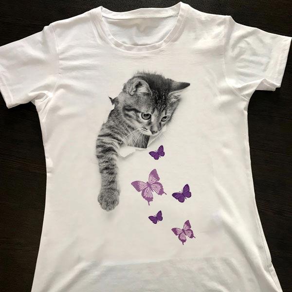 تیشرت طرح گربه پروانه