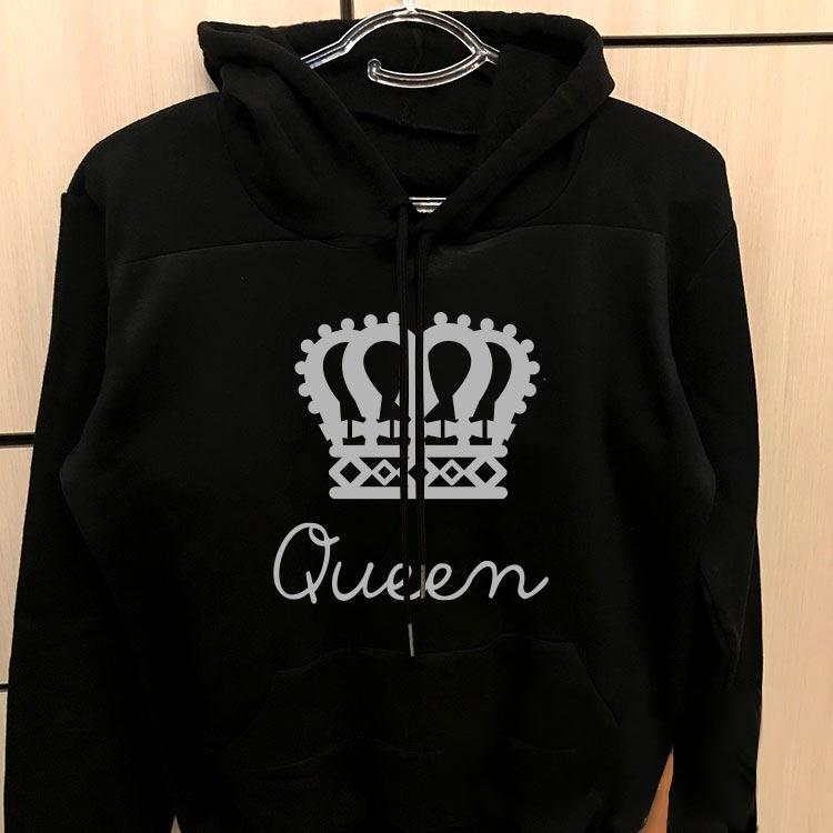 هودی زنانه ست مشکی طرح king queen