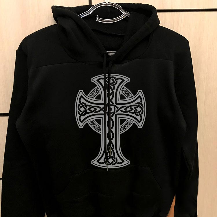 هودی مشکی پنبه ای طرح صلیب